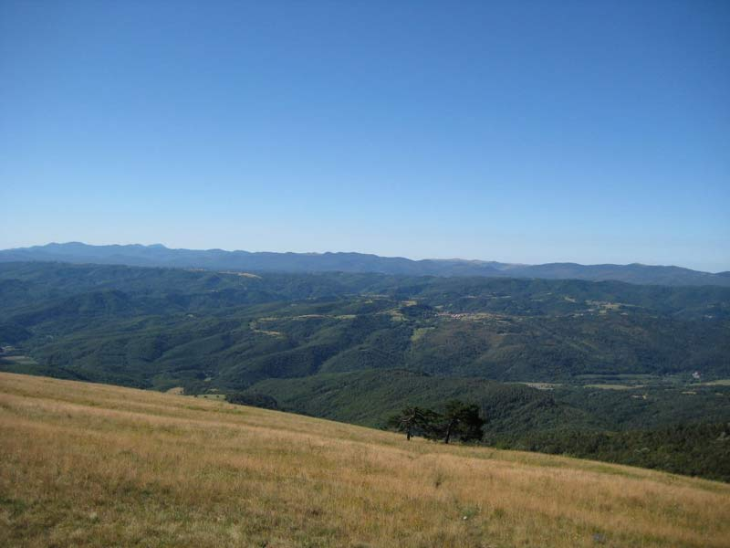 View of Brkini, the plateau south of the Vreme valley